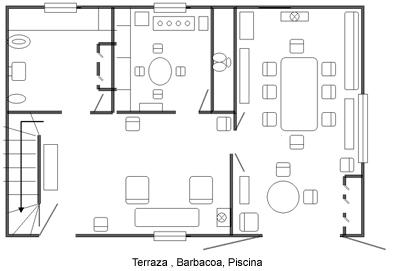 Casa rural la carrasca - Plano casa planta baja ...
